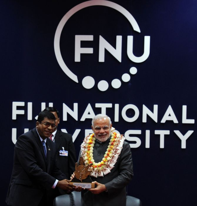 Prime Minister Narendra Modi at the Fiji National University, November 19, 2014.
