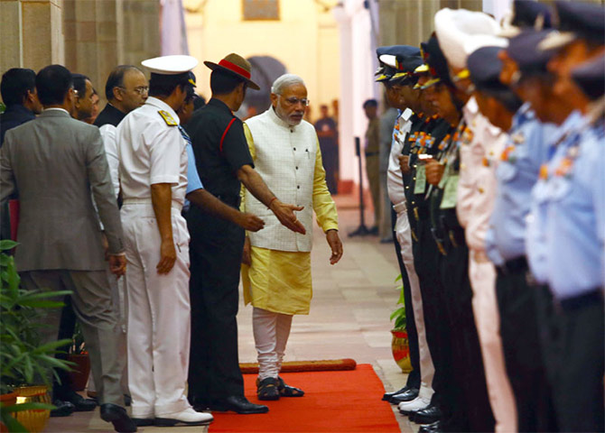 Prime Minister Narendra Modi arrives at the Combined Commanders Conference in New Delhi, October 17, 2014.