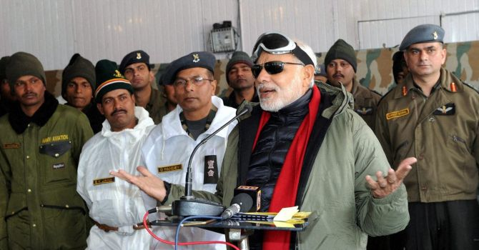 Prime Minister Narendra Modi at the Siachen Glacier. Photograph: Press Information Bureau
