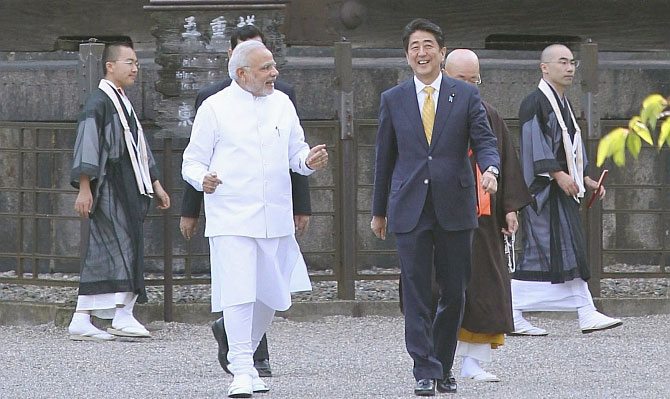 September 2014: Modi and Abe at the Toji Buddhist temple, a UNESCO World Heritage site, in Kyoto, Japan. Photograph: Kyodo/Reuters