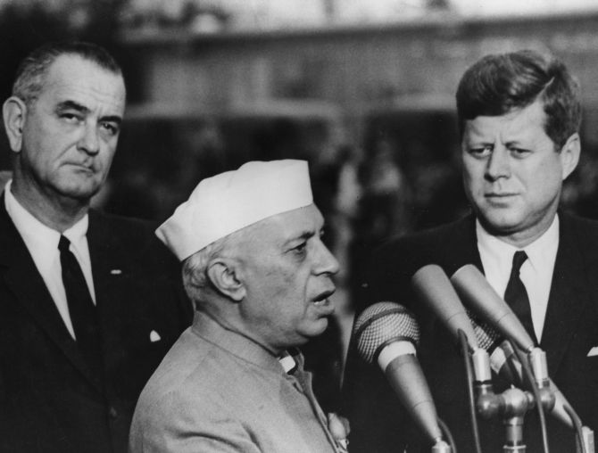 Prime Minister Jawaharlal Nehru with President John F Kennedy and Vice-President Lyndon Baines Johnson, Washington, DC