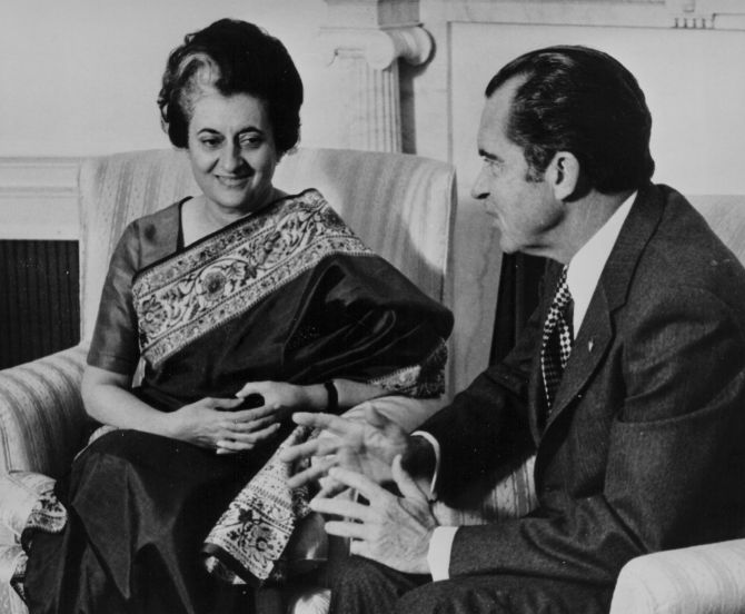 Prime Minister Indira Gandhi and US President Richard Nixon, talking at the White House, Washington, DC, USA on November 9 1971. Photograph: Keystone/Hulton Archive/Getty Images