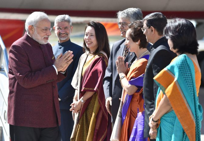 Dr S Jaishankar, second from right, with his wife Takako Jaishankar bidding farewell to Prime Minister Narendra Modi during the Indian leader's visit to the US.