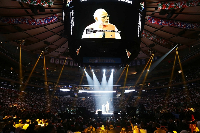 Prime Minister Narendra Modi at Madison Square Garden, September 28, 2014. Photograph: Paresh Gandhi/Rediff.com