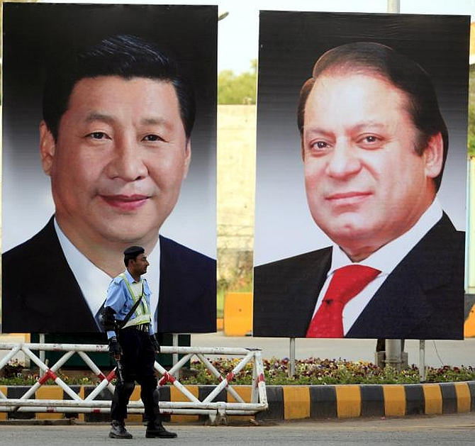 A hoarding welcoming Chinese President Xi Jinping in Islamabad last year.