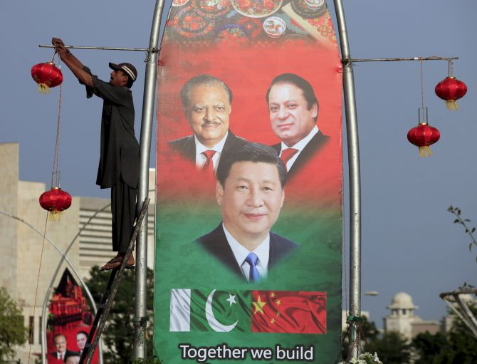 A poster during the Chinese President's visit to Pakistan