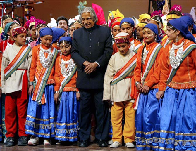 Former President A P J Kalam at a folk dance festival in 2006