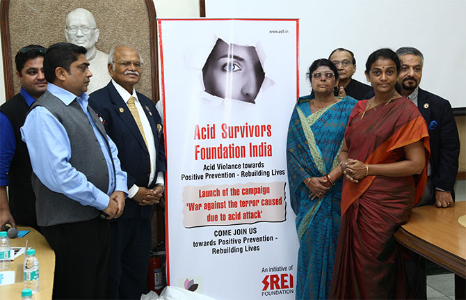 Kalpana with the Acid survivors foundation members