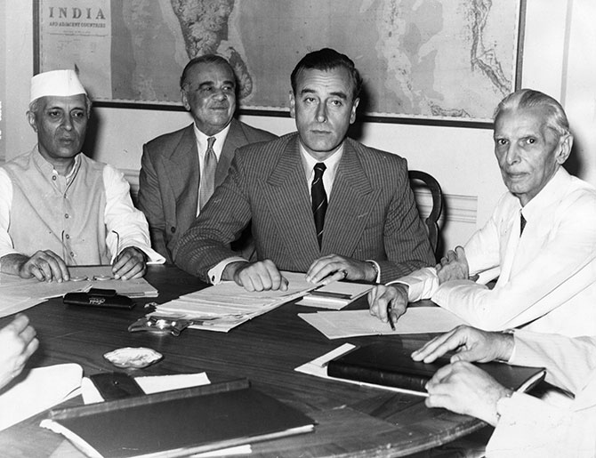The conference in New Delhi where Lord Louis Mountbatten disclosed Britain's plan for the Partition of India. Left to Right: Jawaharlal Nehru, Lord Ismay, adviser to Mountbatten, Lord Mountbatten, and Mohammad Ali Jinnah.