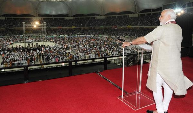 Narendra Modi addressed NRIs in Dubai