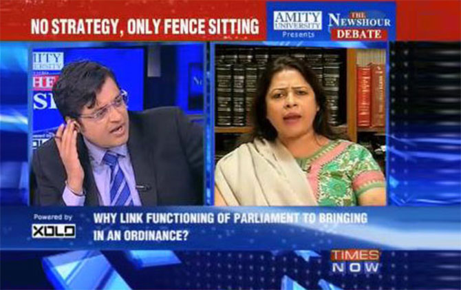Arnab Goswami on the NewsHour episode with the BJP's Meenakshi Lekhi.