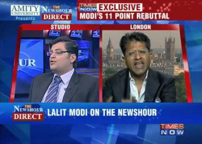 Arnab Goswami appears to have Lalit Modi all worked up.