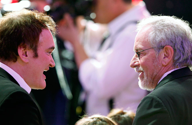 Steven Spielberg, right, with Quentin Tarantino at the 16th Critics' Choice Movie Awards, January 14, 2011. Photograph: Mario Anzuoni/Reuters