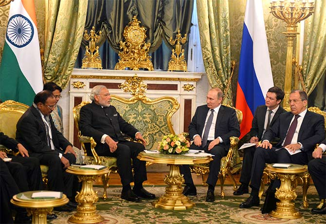 Prime Minister Narendra Modi with Russian President Vladmir Putin at the Kremlin, December 24, 2015.