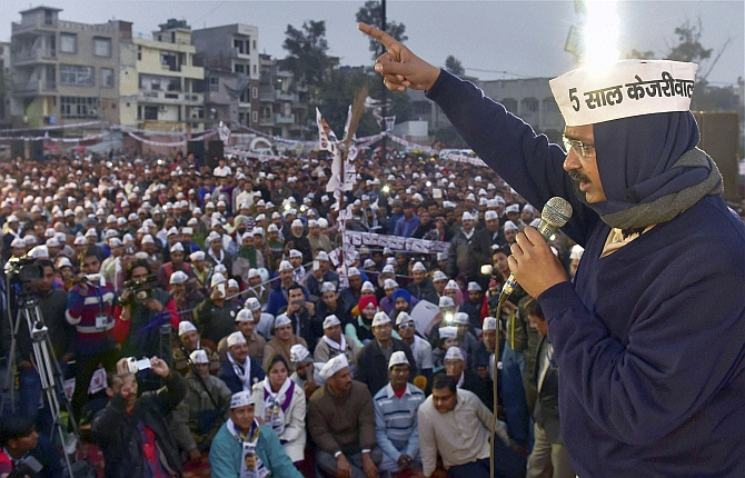 Aam Aadmi Party leader Arvind Kejriwal at a Delhi campaign rally.