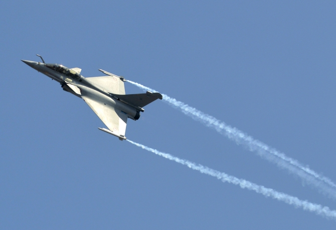 IMAGE: A Dassault Rafale combat aircraft seen during Aero India 2013 at the Yelahanka air force station on the outskirts of Bengaluru. Photograph: Reuters