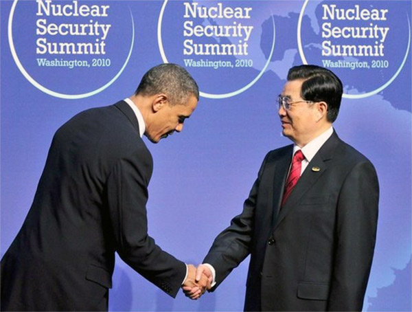 US President Barack Obama with then Chinese president Hu Jintao