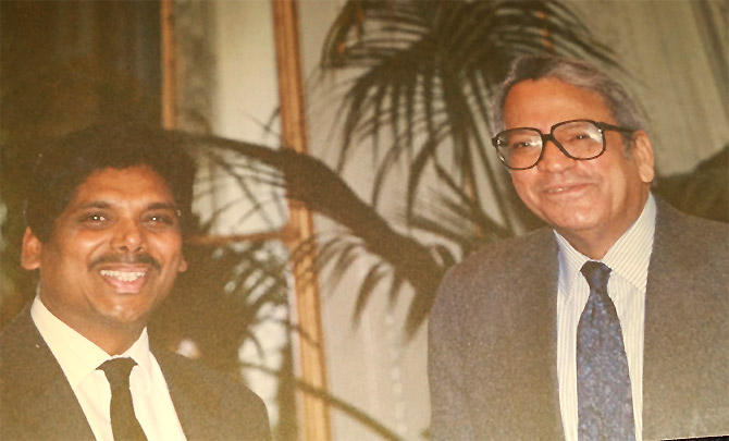 John Abraham, left, with Siddhartha Shankar Ray, then the Indian ambassador to the United States.