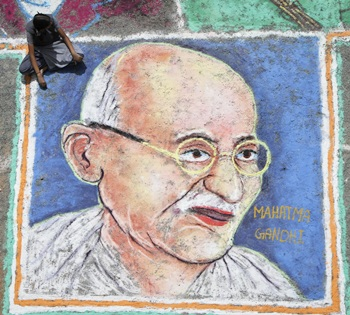 A painting of Gandhiji