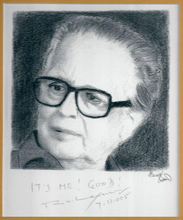 Placido P D'Souza's sketch of R K Laxman, autographed by the legendary cartoonist.