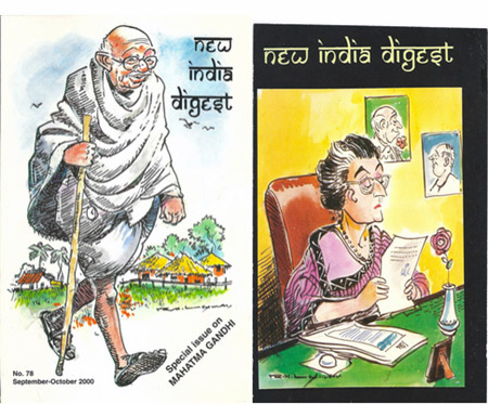 R K Laxman's covers for the New India Digest