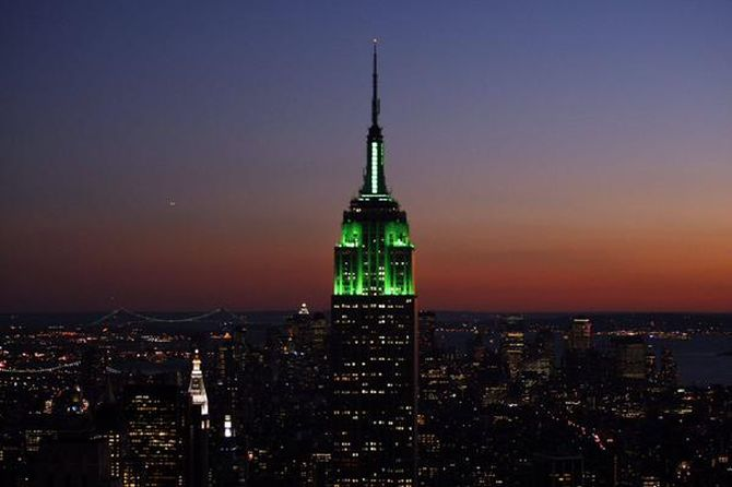 New York's Empire State Building was lit in green late Friday to celebrate the Eid al-Fitr holiday that marks the end of Ramzan. Photograph: @USCGLahore/Twitter