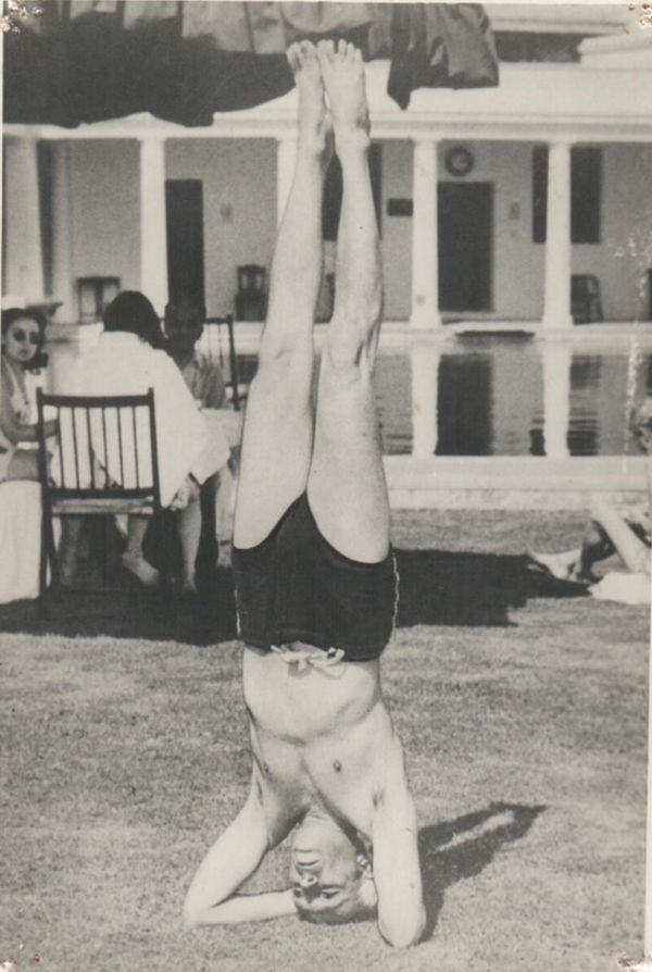 Nehru doing yoga
