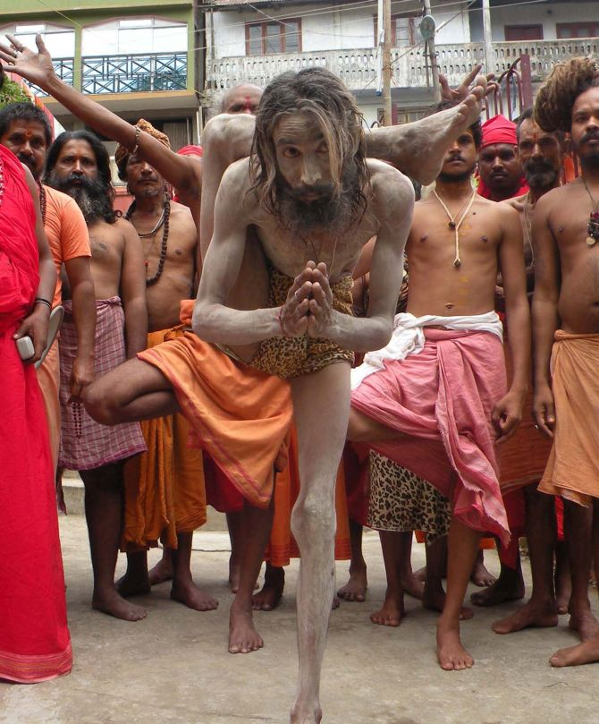 A Sadhu Performs Yoga At The Famous KamakhyaTemple In Guwahati