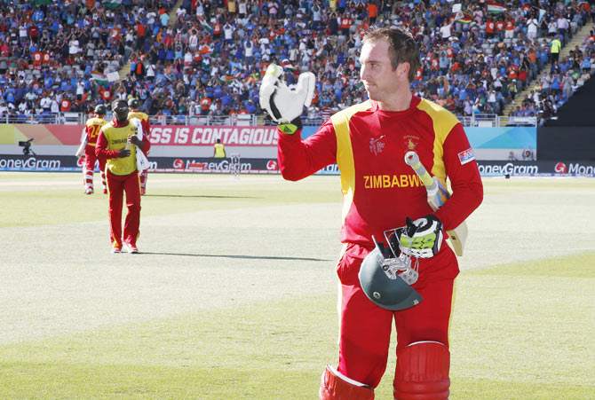 Zimbabwe's Brendan Taylor leaves the field
