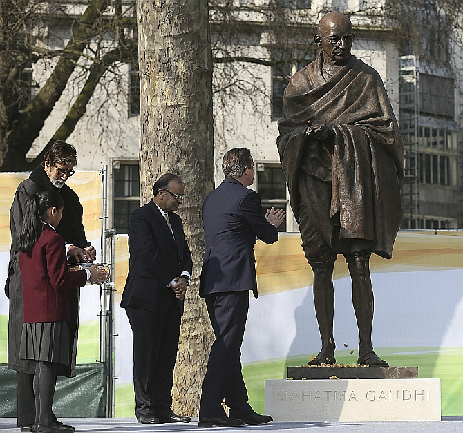 Mahatma Stands Tall Next To Churchill In London Rediff