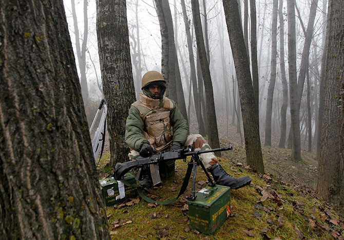 An Indian soldier in Kashmir
