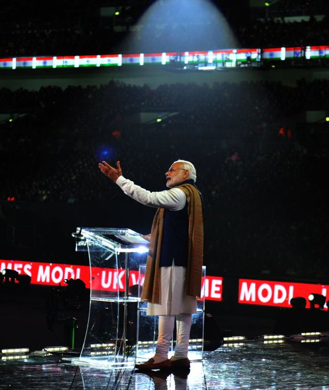 Prime Minister Narendra Modi addresses the Indian Diaspora at the Wembley Stadium in London, November 14, 2015