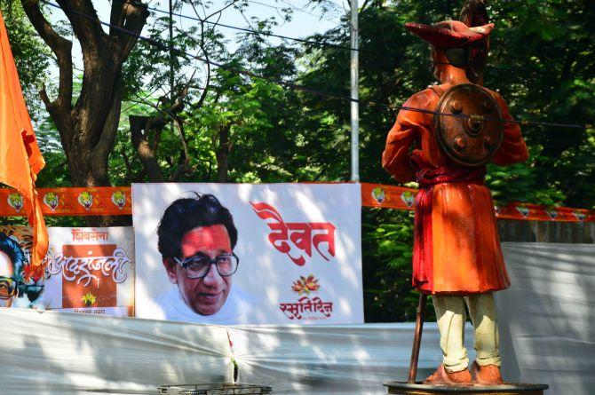 A Poster Commemorating Bal Thackeray At Shivaji Park