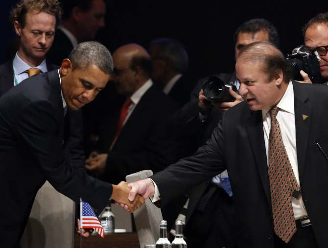 US President Barack Obama with Pakistan Prime Minister Nawaz Sharif.  Photograph: Yves Herman/Reuters