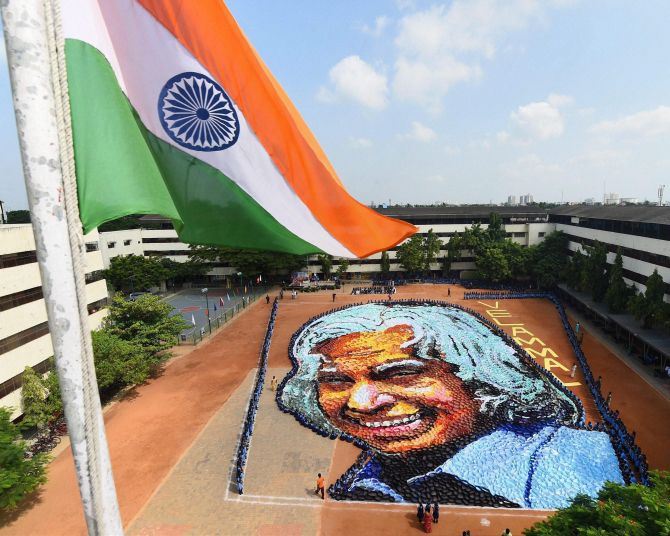 Around 6,000 students created a paper filigree of former President of India Dr APJ Abdul Kalam to mark his birth anniversary in Chennai.