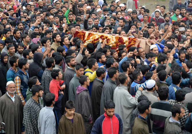 : The funeral procession of Zahid Rasool Bhat, a 19-year-old trucker from Anantnag, Kashmir, who died of his injuries after the truck, which he was travelling in was attacked over rumours that it was transporting beef.