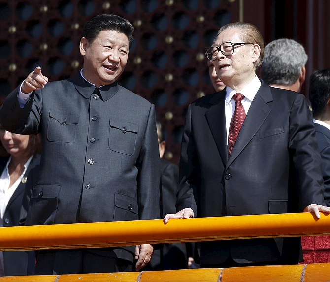 Chinese President Xi Jinping with former Chinese president Jiang Zemin at a military parade in Beijing, September 3, 2015. Photograph: Wang Zhao/Reuters