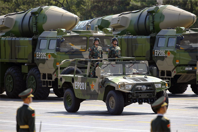 Military vehicles carrying DF-21D ballistic missiles roll to Tiananmen Square during the military parade to mark the 70th anniversary of the end of World War II in Beijing, September 3. Photograph: Damir Sagol/Reuters