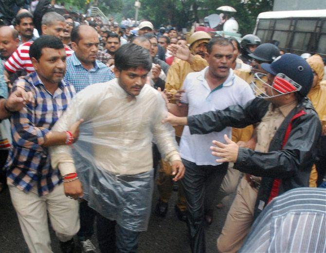 Police detain Patidar Anamat Andolan Samiti convener Hardik Patel in Surat on September 19. Photograph: PTI