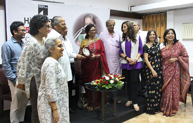 Olga Tellis being felicitated at the Mumbai Press Club