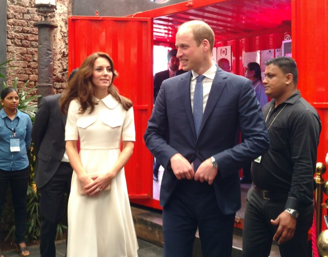 Prince William and Princess Catherine enter Todi Mills Social
