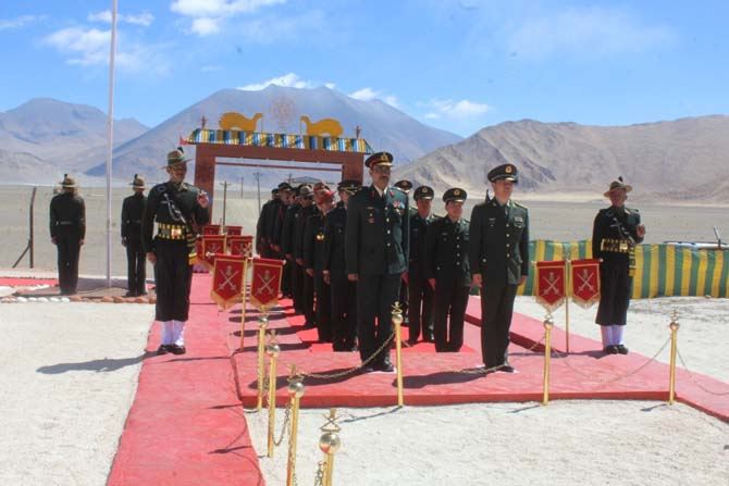 A Border Personnel Meeting between the Indian and Chinese armies on the occasion of the 'Harvest Festival' in Chushul and Daulat Beg Oldi, Eastern Ladakh, April 14, 2016
