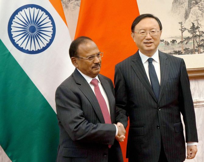 National Security Advisor Ajit Doval and Chinese State Councillor Yang Jiechi in Beijing, April 21, 2016. Photograph: PTI