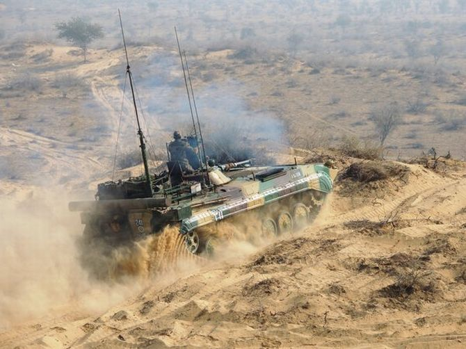 A tank on the move during the Shatrujeet exercise in the deserts of Rajasthan, April 2016. Photograph: @SpokespersonMoD