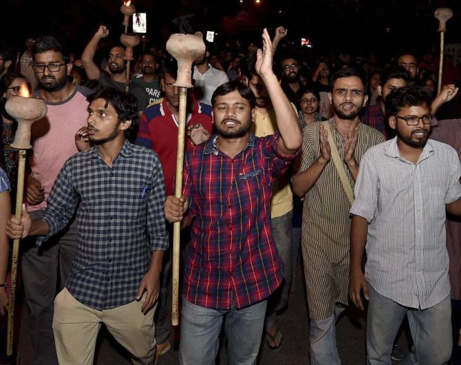 Kanhaiya Kumar with JNU students