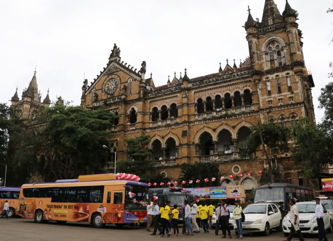 The service is launched at Mumbai's famed CST railway station.