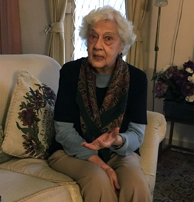 Mrs Dyer in her home in Pune