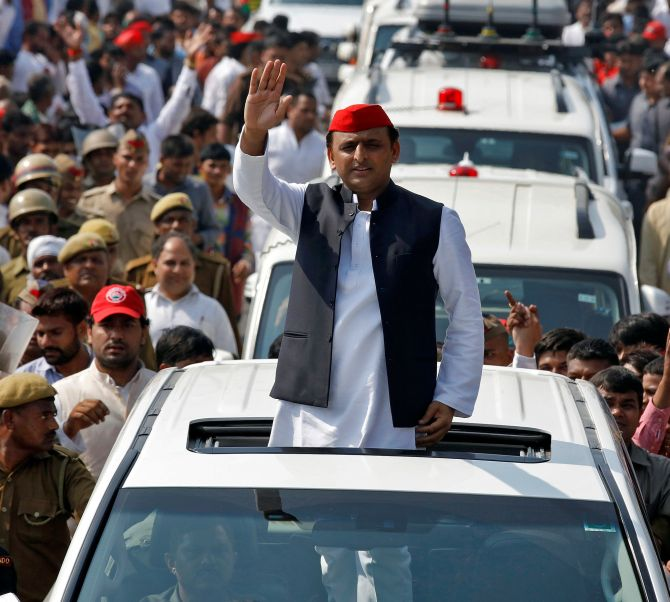 Uttar Pradesh Chief Minister Akhilesh Yadav during a Samajwadi Party rally.
