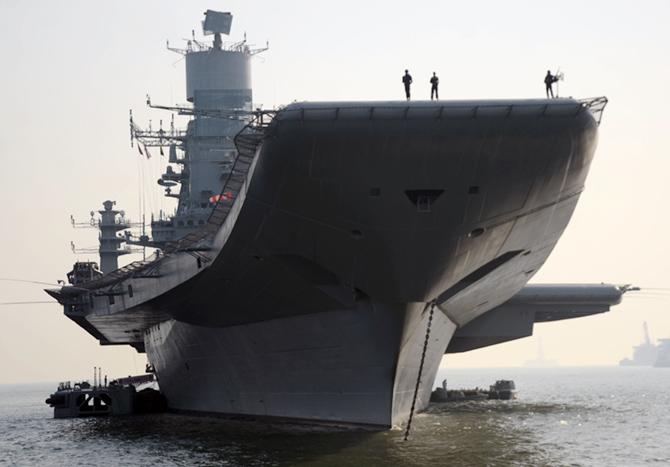 The INS Vikramaditya, currently India's only aircraft carrier. Photograph: Prasanna D Zore/Rediff.com