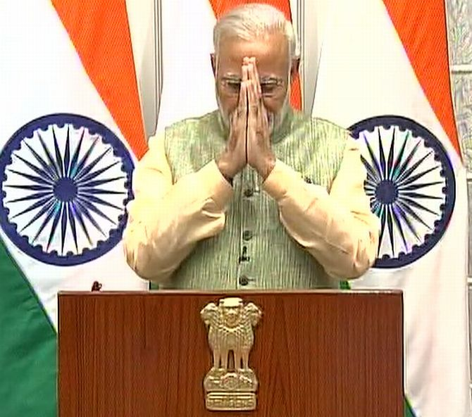 Prime Minister Narendra Modi after his speech to the nation, December 31, 2016.